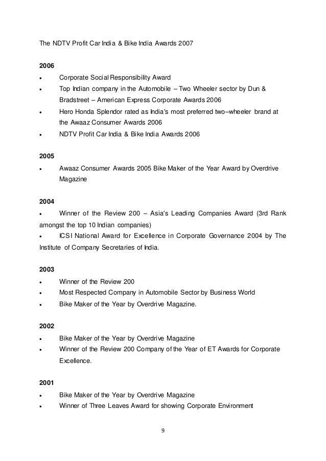 9 The NDTV Profit Car India & Bike India Awards 2007 2006  Corporate Social Responsibility Award  Top Indian company in ...