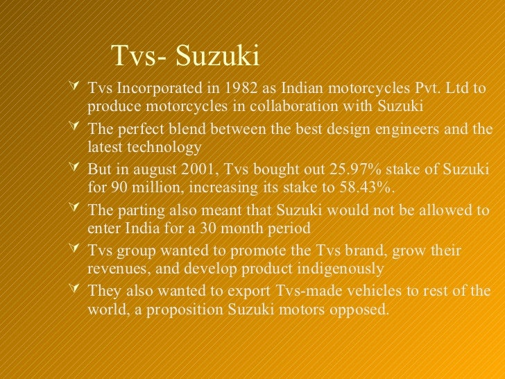 swot analysis of tvs motor company Check out our top free essays on swot analysis of suzuki motorcycles to help company or organization a swot analysis is typically used motor company.