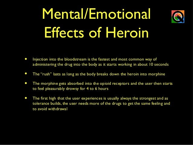 the effects of the use of heroin Using more than one drug at a time is known as polydrug use this intensifies the effects of any individual drug and makes them more dangerous for example, alcohol can intensify the effects of painkillers, but taking these drugs together makes it more likely that the user will stop breathing.