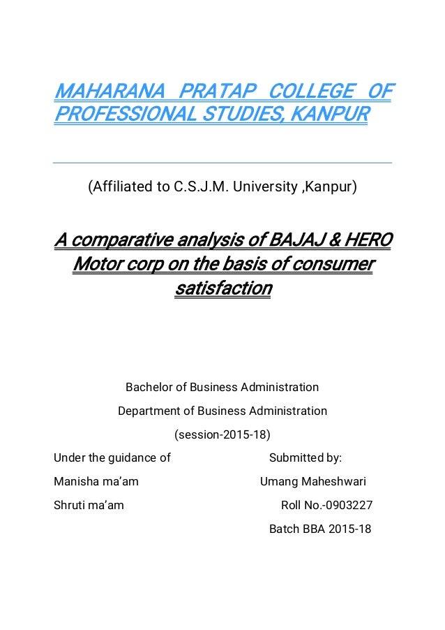 Project Report - Hero motocorp and bajaj pdf