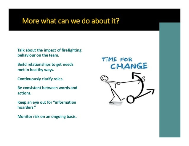 More what can we do about it? Continuously clarify roles. Talk about the impact of firefighting behaviour on the team. Bui...