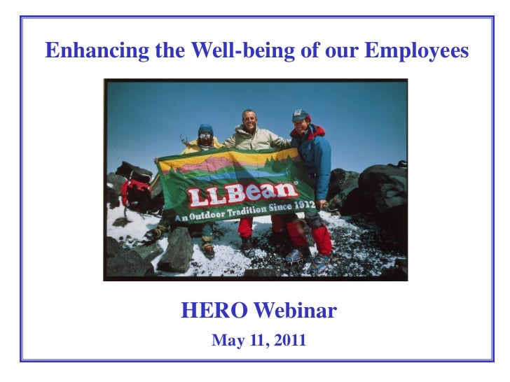 Enhancing the Well-being of our Employees             HERO Webinar                May 11, 2011