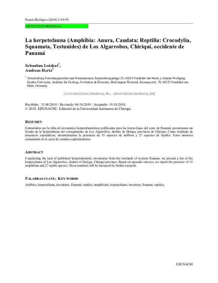Puente Biológico (2010) 3: 89-99ARTICULO ORIGINALLa herpetofauna (Amphibia: Anura, Caudata; Reptilia: Crocodylia,Squamata,...