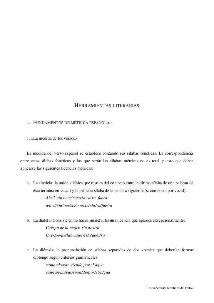 HERRAMIENTAS LITERARIAS   1. FUNDAMENTOS DE MÉTRICA ESPAÑOLA.-   1.1.La medida de los versos.-   La medida del verso españ...