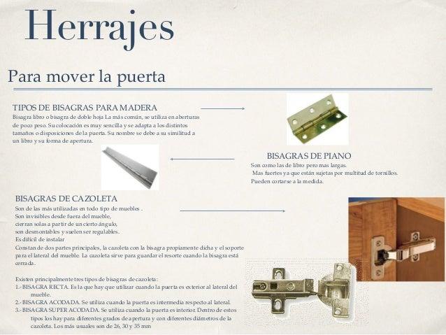 Herrajes y bisagras - Tipos de bisagras para puertas ...