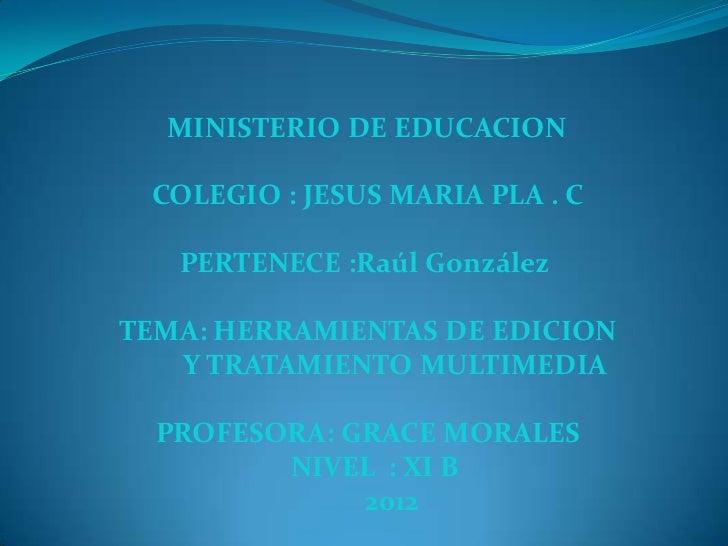 MINISTERIO DE EDUCACION COLEGIO : JESUS MARIA PLA . C   PERTENECE :Raúl GonzálezTEMA: HERRAMIENTAS DE EDICION   Y TRATAMIE...