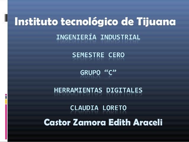 Instituto tecnológico de Tijuana Castor Zamora Edith Araceli