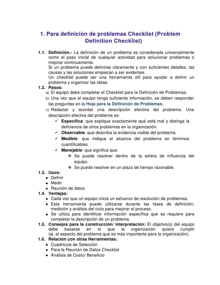 1. Para definición de problemas Checklist (Problem                  Definition Checklist)1.1. Definición.- La definición d...