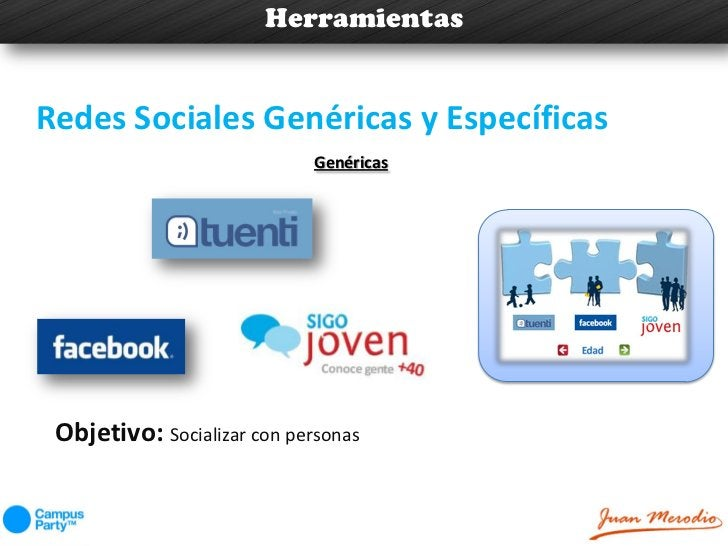 HerramientasRedes Sociales Genéricas y Específicas                             Genéricas Objetivo: Socializar con personas