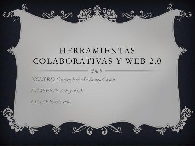 HERRAMIENTASCOLABORATIVAS Y WEB 2.0NOMBRE: Carmen Rocío Iñahuazo GaonaCARRERA: Arte y diseñoCICLO: Primer ciclo.