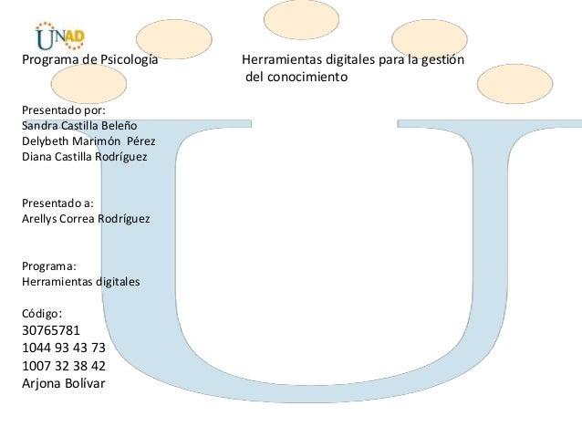 Programa de Psicología Herramientas digitales para la gestión del conocimiento Presentado por: Sandra Castilla Beleño Dely...