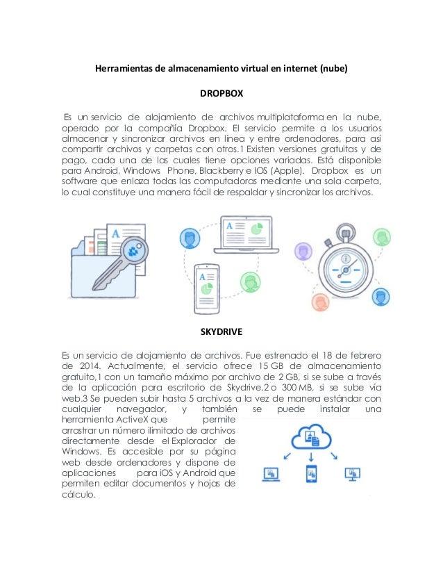 Herramientas de almacenamiento virtual en internet (nube) DROPBOX Es un servicio de alojamiento de archivos multiplataform...