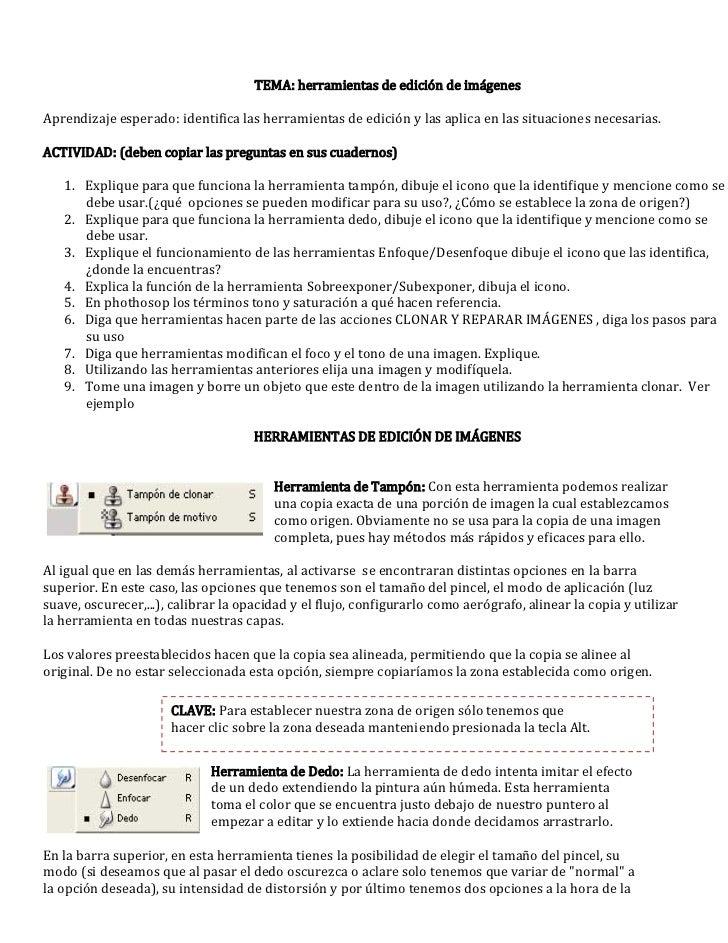TEMA: herramientas de edición de imágenesAprendizaje esperado: identifica las herramientas de edición y las aplica en las ...