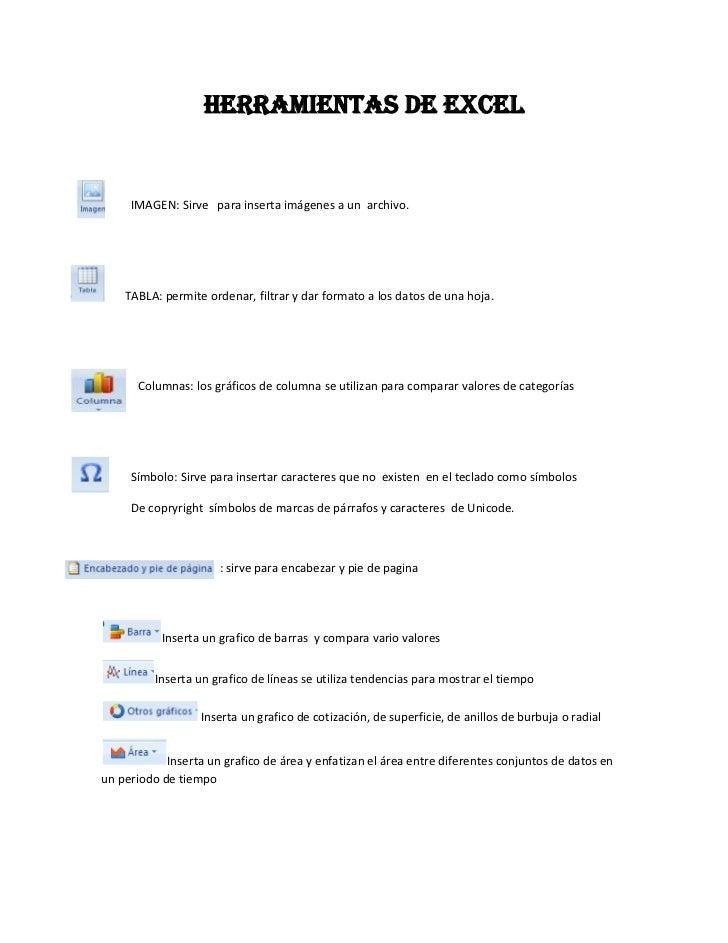 HERRAMIENTAS DE EXCEL<br />          IMAGEN: Sirve   para inserta imágenes a un  archivo.<br />        TABLA: permite orde...