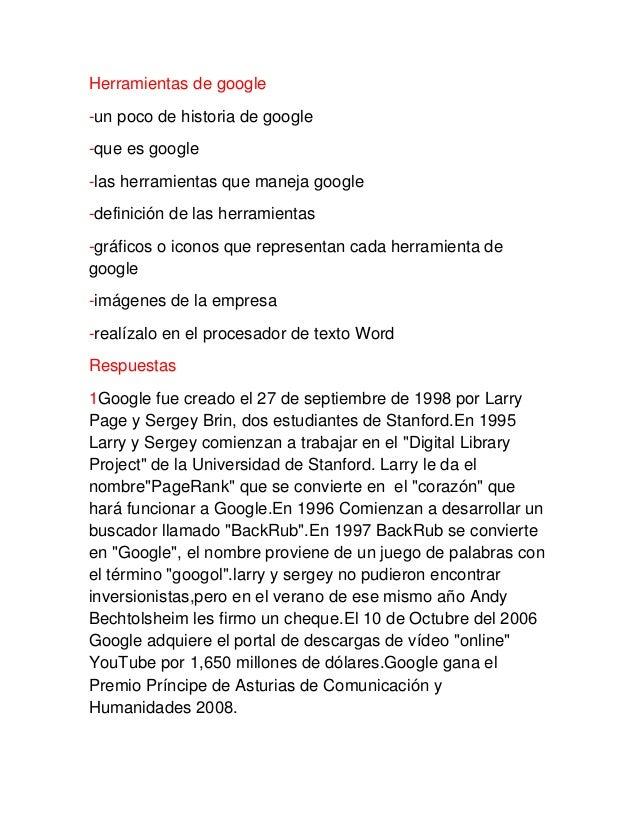 Herramientas de google -un poco de historia de google -que es google -las herramientas que maneja google -definición de la...