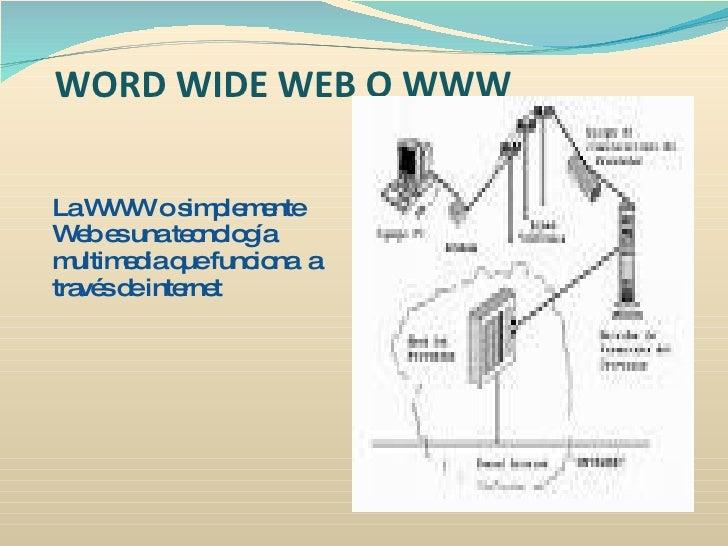 WORD WIDE WEB O WWW  LaW W os p m nte       W     im le e W be unate no g   e s        c lo ía m ultim d q func na a      ...