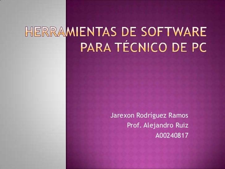 Jarexon Rodríguez Ramos     Prof. Alejandro Ruiz               A00240817