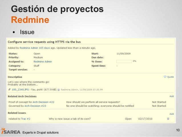 Gestión de proyectos Redmine • Issue 10 Experts in Drupal solutions