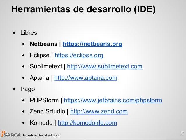 Herramientas de desarrollo (IDE) • Libres • Netbeans   https://netbeans.org • Eclipse   https://eclipse.org • Sublimetext ...