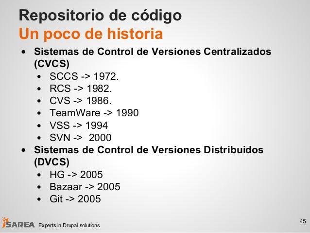 Repositorio de código Un poco de historia • Sistemas de Control de Versiones Centralizados (CVCS) • SCCS -> 1972. • RCS ->...