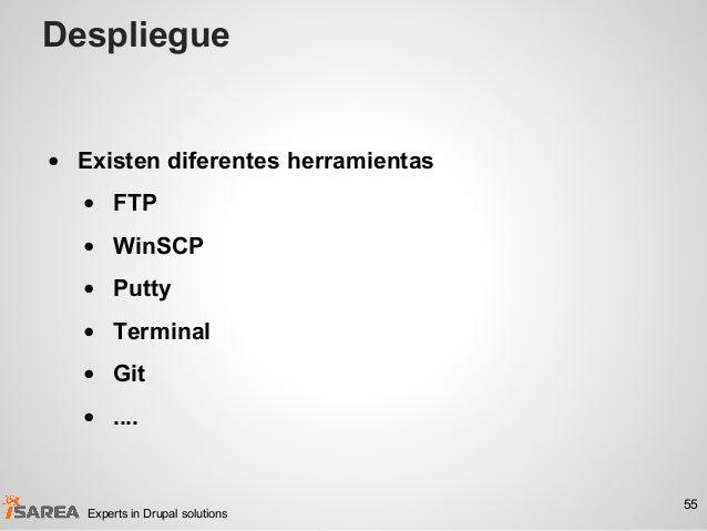 Despliegue • Existen diferentes herramientas • FTP • WinSCP • Putty • Terminal • Git • .... 55 Experts in Drupal solutions