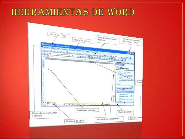 • Barra de título: Ubicada en la parte superior de la ventana, esta barra nos indica • cual es la aplicación abierta (en e...