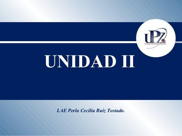 LAE Perla Cecilia Ruiz Tostado. UNIDAD II