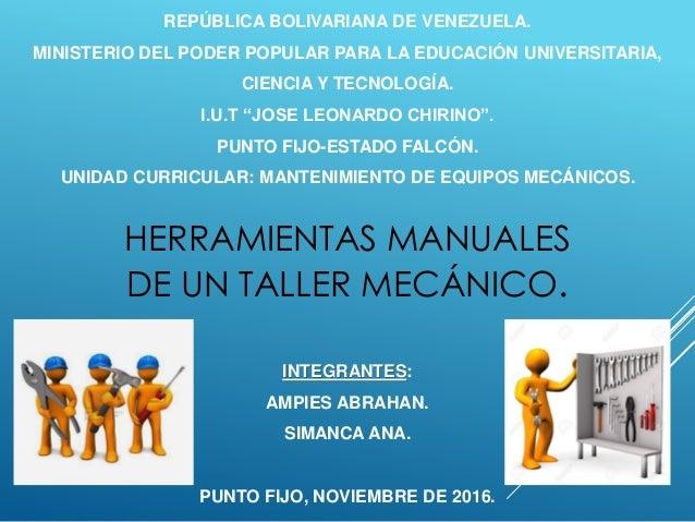 Herramientas manuales de un taller mec nico pdf for Herramientas que se utilizan en un vivero