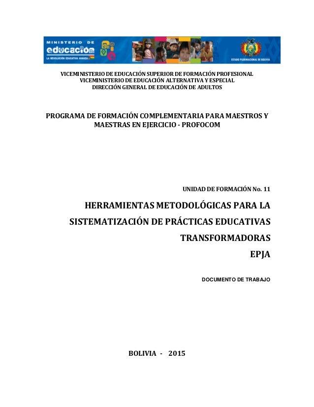0 VICEMINISTERIO DE EDUCACIÓN SUPERIOR DE FORMACIÓN PROFESIONAL VICEMINISTERIO DE EDUCACIÓN ALTERNATIVA Y ESPECIAL DIRECCI...