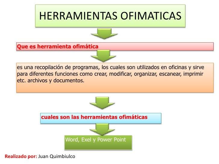 HERRAMIENTAS OFIMATICAS     Que es herramienta ofimática     es una recopilación de programas, los cuales son utilizados e...