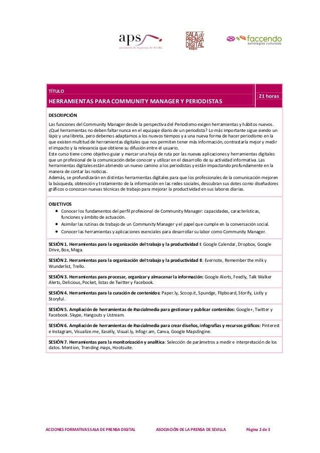 ACCIONES FORMATIVAS SALA DE PRENSA DIGITAL ASOCIACIÓN DE LA PRENSA DE SEVILLA Página 2 de 3 TÍTULO HERRAMIENTAS PARA COMMU...