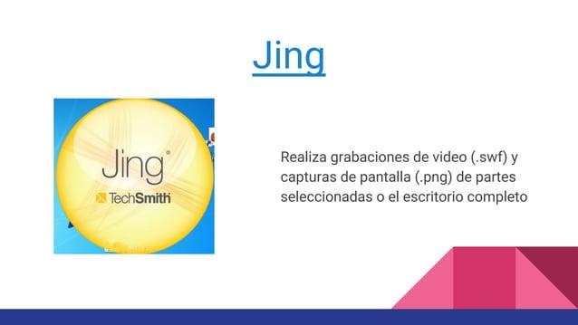 Jing Realiza grabaciones de video (.swf) y capturas de pantalla (.png) de partes seleccionadas o el escritorio completo