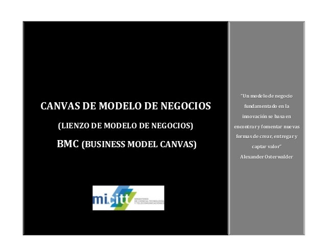 """CANVAS DE MODELO DE NEGOCIOS (LIENZO DE MODELO DE NEGOCIOS) BMC (BUSINESS MODEL CANVAS) """"Un modelo de negocio fundamentado..."""