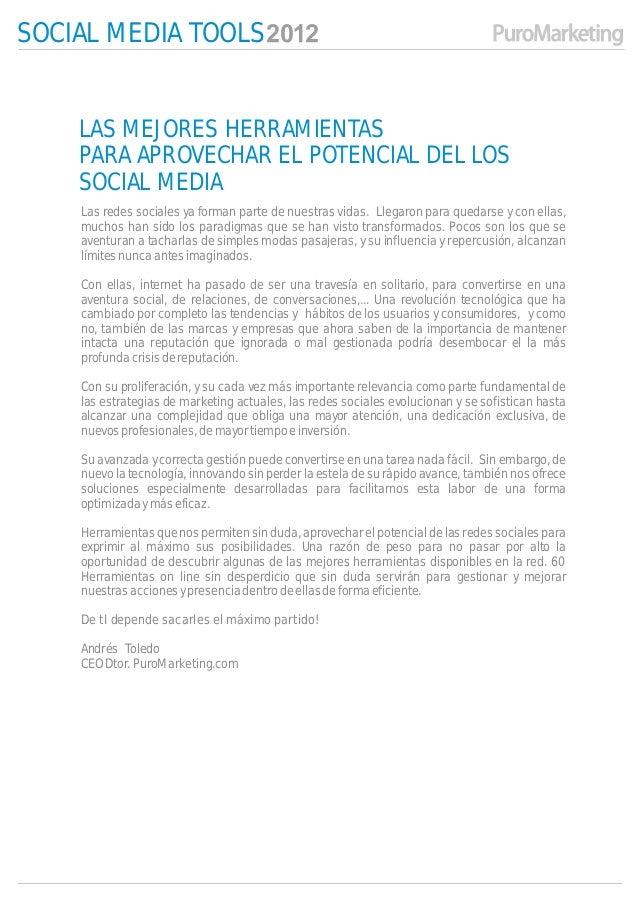 SOCIAL MEDIA TOOLS    LAS MEJORES HERRAMIENTAS    PARA APROVECHAR EL POTENCIAL DEL LOS    SOCIAL MEDIA    Las redes social...