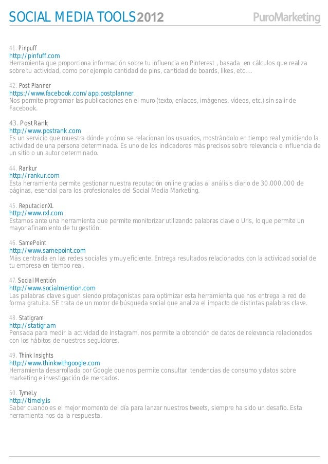 SOCIAL MEDIA TOOLS41. Pinpuffhttp://pinfuff.comHerramienta que proporciona información sobre tu influencia en Pinterest , ...