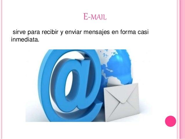 E-MAIL sirve para recibir y enviar mensajes en forma casi inmediata.