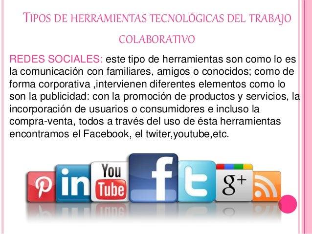 TIPOS DE HERRAMIENTAS TECNOLÓGICAS DEL TRABAJO COLABORATIVO REDES SOCIALES: este tipo de herramientas son como lo es la co...