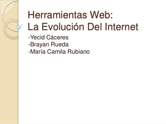 Herramientas Web:La Evolución Del Internet-Yecid Cáceres-Brayan Rueda-María Camila Rubiano
