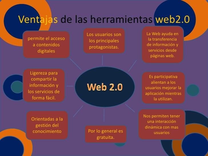 Ventajas de las herramientas web2.0                     Los usuarios son     La Web ayuda en permite el acceso    los prin...
