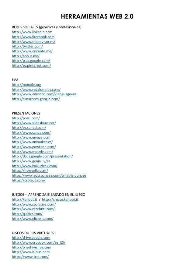 HERRAMIENTAS WEB 2.0    REDES  SOCIALES  (genéricas  y  profesionales)   http://www.linkedin.com   http://ww...