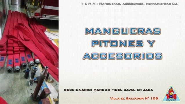 Villa el Salvador N° 105 SECCIONARIO: MARCOS FIDEL CAVALIER JARA T E M A : Mangueras, accesorios, herramientas C.I.