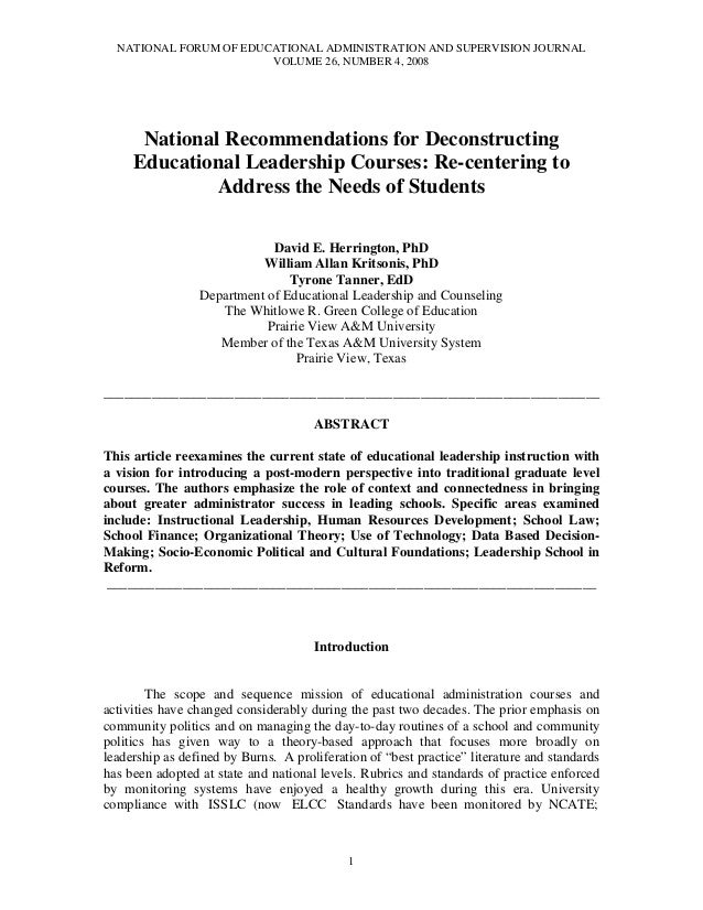 NATIONAL FORUM OF EDUCATIONAL ADMINISTRATION AND SUPERVISION JOURNAL VOLUME 26, NUMBER 4, 2008 1 National Recommendations ...