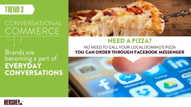 EVERYDAY CONVERSATIONS TREND3 CONVERSATIONAL COMMERCE Brands are becoming a part of NEED A PIZZA? NO NEED TO CALL YOUR LOC...