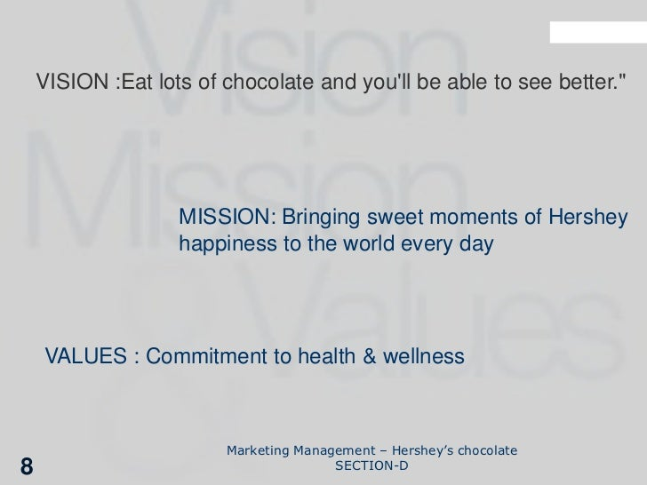 hersheys sweet mission essay The hershey company - commonly called hershey's - is the leading manufacturer of chocolates in the united states focused on the production of chocolate, sweet and mints, the company was founded in 1894 by milton s hershey in his hometown of derry church in pennsylvania.