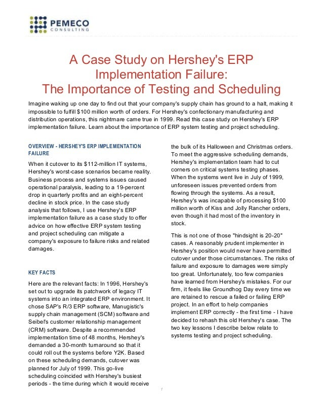 a case study on hersheys erp implementation failure the importance of testing and scheduling