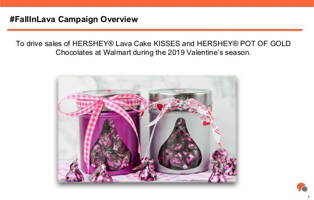 #FallInLava Campaign Overview To drive sales of HERSHEY® Lava Cake KISSES and HERSHEY® POT OF GOLD Chocolates at Walmart d...