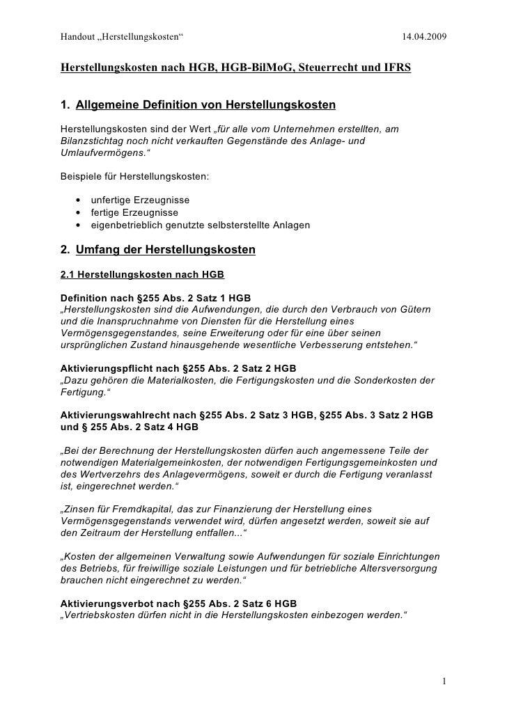 """Handout """"Herstellungskosten""""                                                 14.04.2009   Herstellungskosten nach HGB, HGB..."""