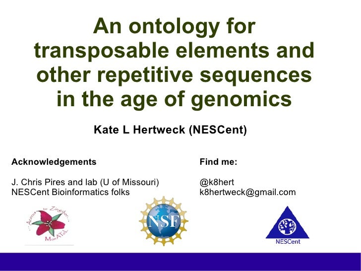 An ontology for     transposable elements and     other repetitive sequences        in the age of genomics                ...