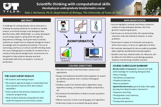 Scientfc thinking with computatonal skills Developing an undergraduate bioinformatcs course Kate L Hertweck, Ph.D, Departm...