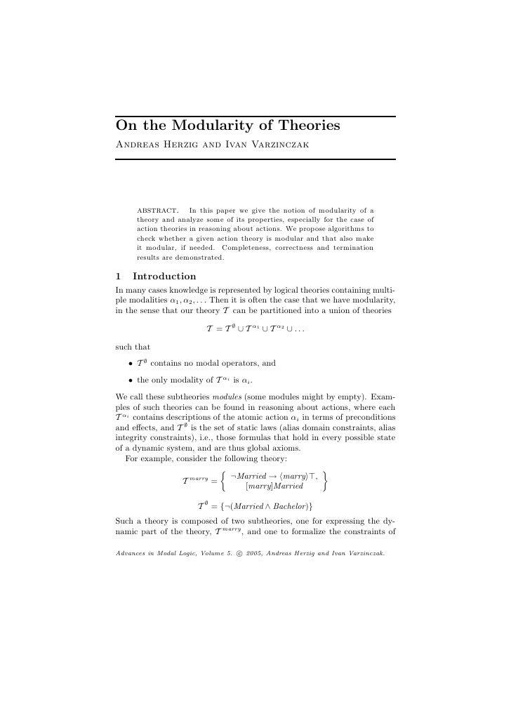 On the Modularity of Theories Andreas Herzig and Ivan Varzinczak           abstract.       In this paper we give the notio...